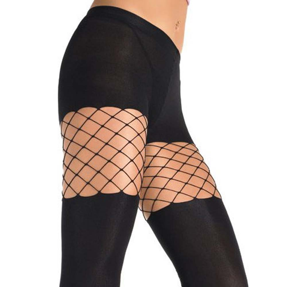 Lycra Opaque Pantyhose With Diamond Net Detail - View #1
