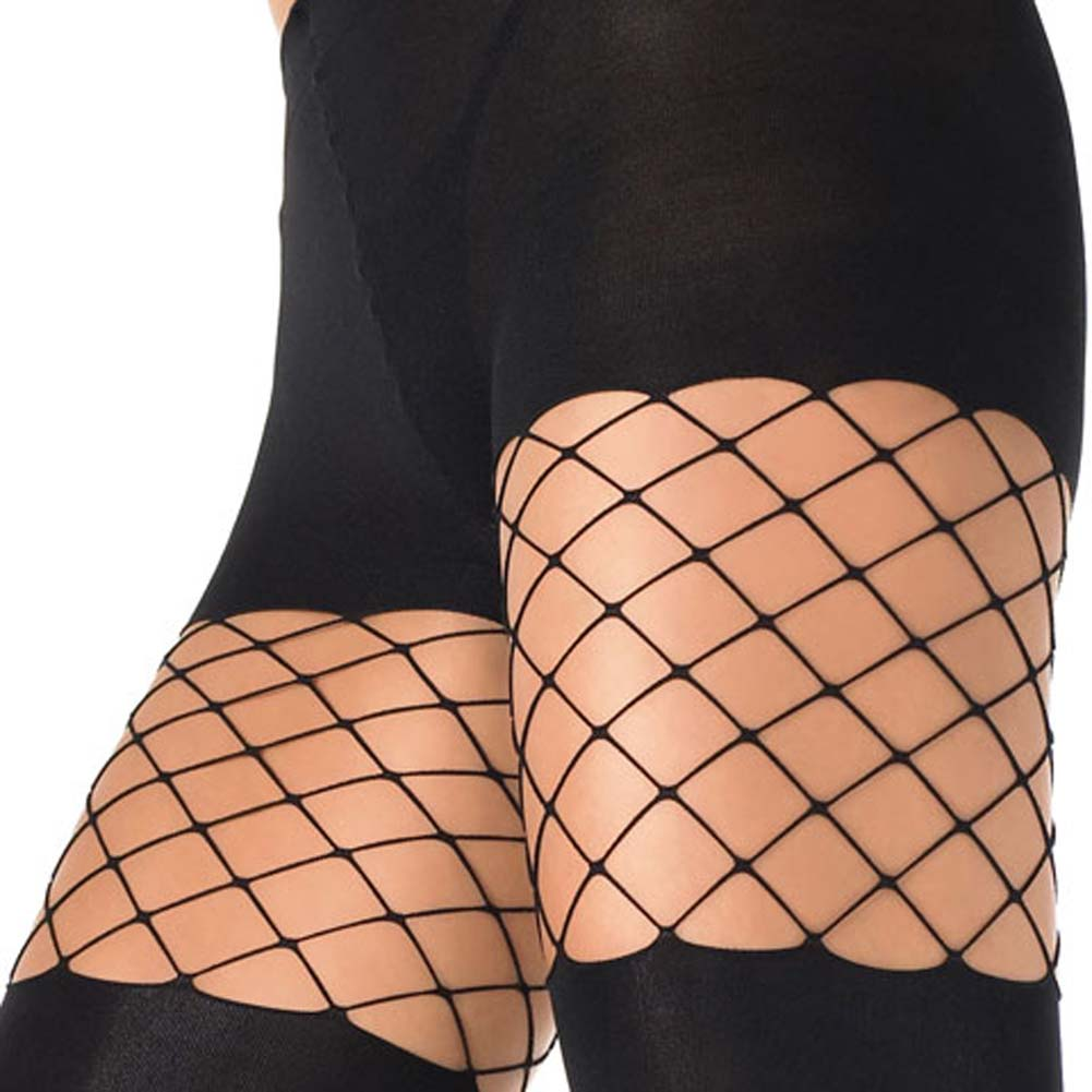 Lycra Opaque Pantyhose With Diamond Net Detail - View #3