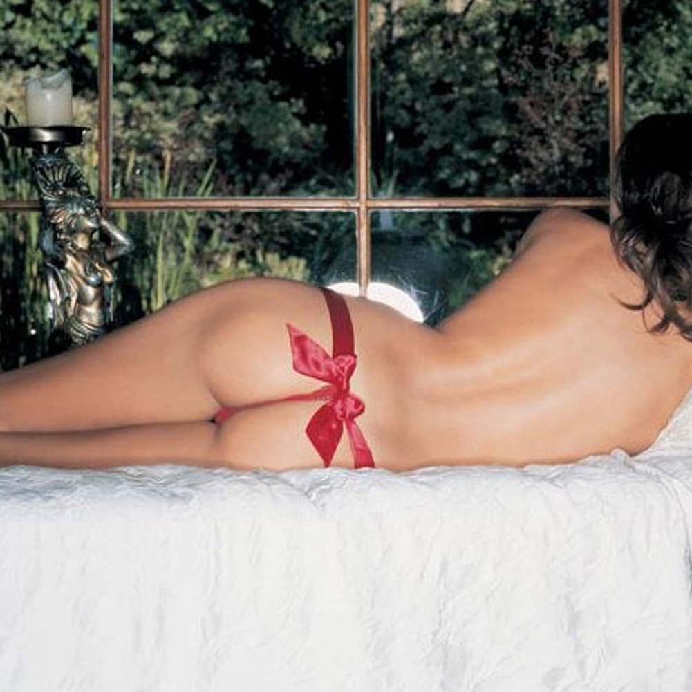 Silk Thong with Silk Satin Bow Red - View #1