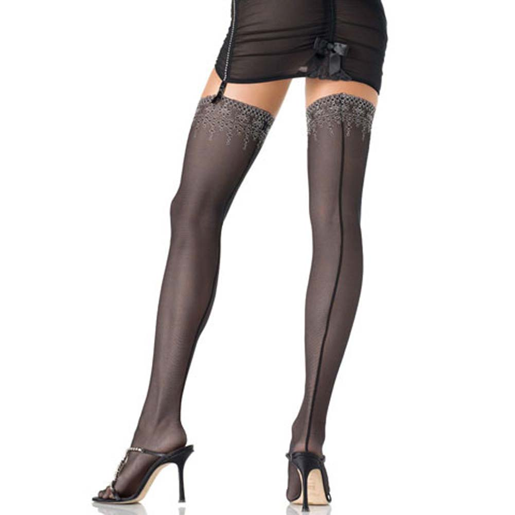 Lycra Mesh Backseam Thigh High With Chantilly Top - View #2