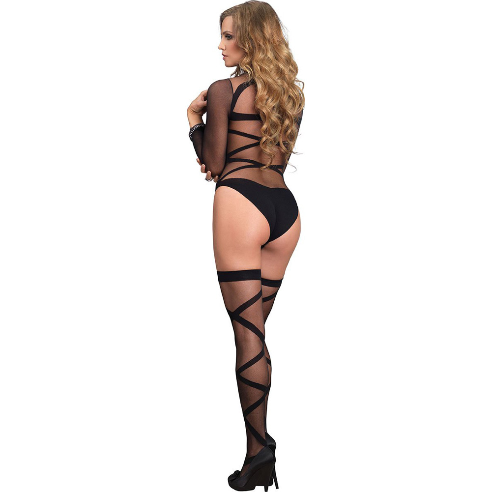 Opaque Sheer Criss Cross Bodysuit And Stockings Set One Size Black - View #2