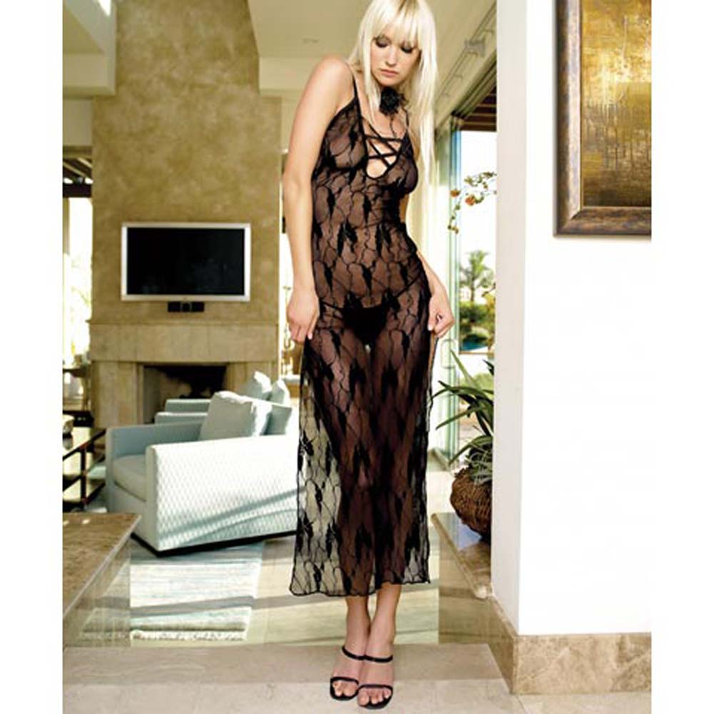 Lace Long Dress With Deep V And G-String 2 Pc Set - View #3