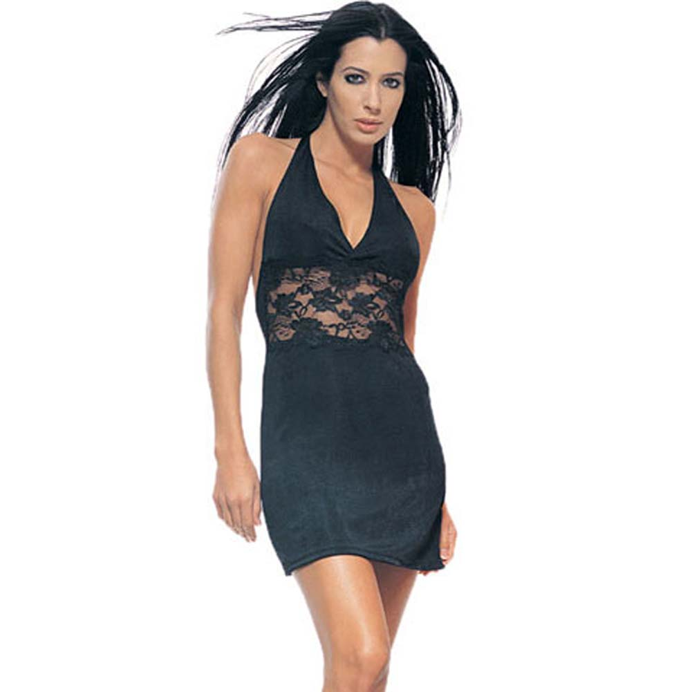 Slinky Halter Mini Dress With Lace Insert Black - View #2