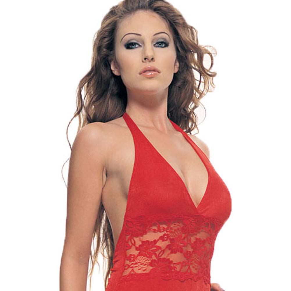Slinky Halter Mini Dress With Lace Inset Red - View #1