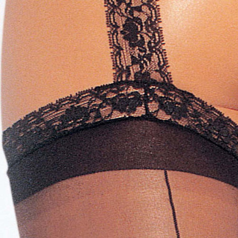 Back Seam Garter Belt Stockings Black Plus Size - View #3