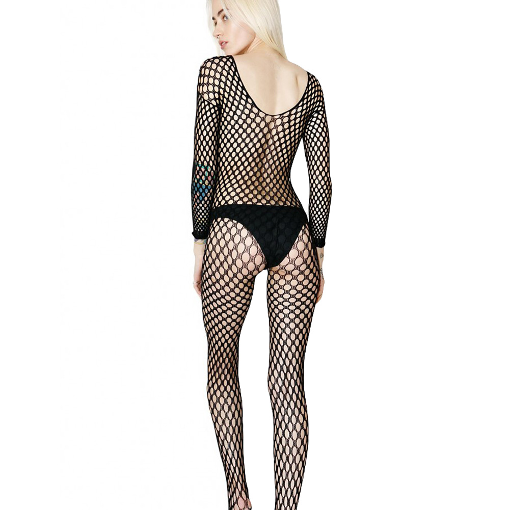 Leg Avenue Lycra Ring Hole Seamless Bodystocking One Size Black - View #1