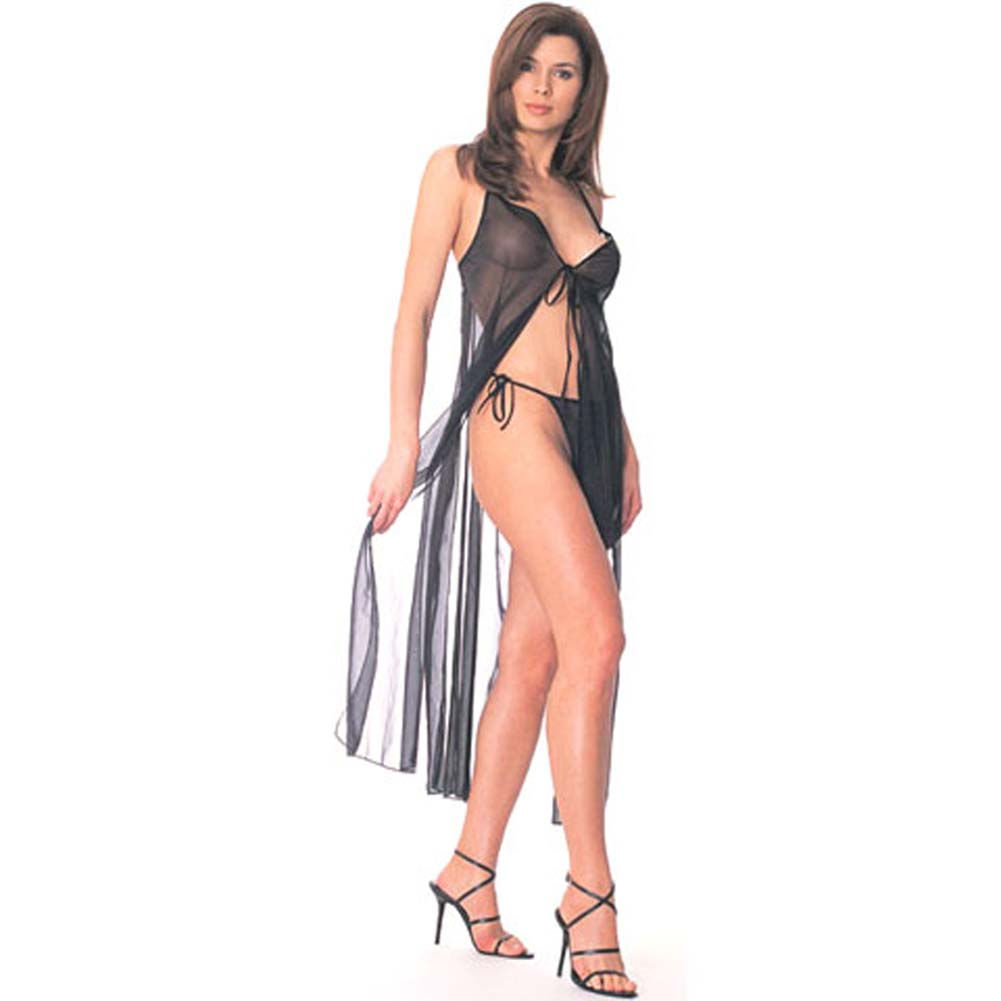 Tie Front Sheer Gown with Thong - View #2