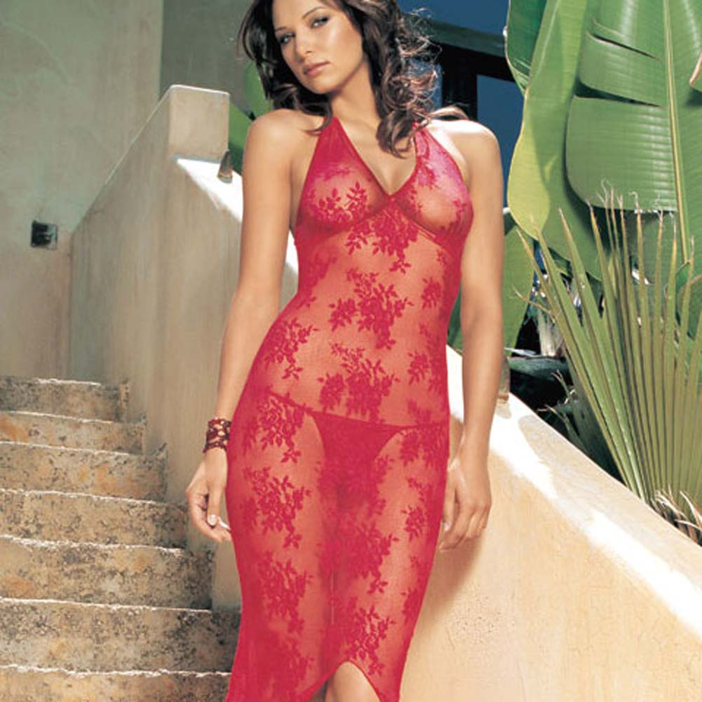 Leg Avenue Halter Lace Long Gown with Matching G-String One Size Red - View #2