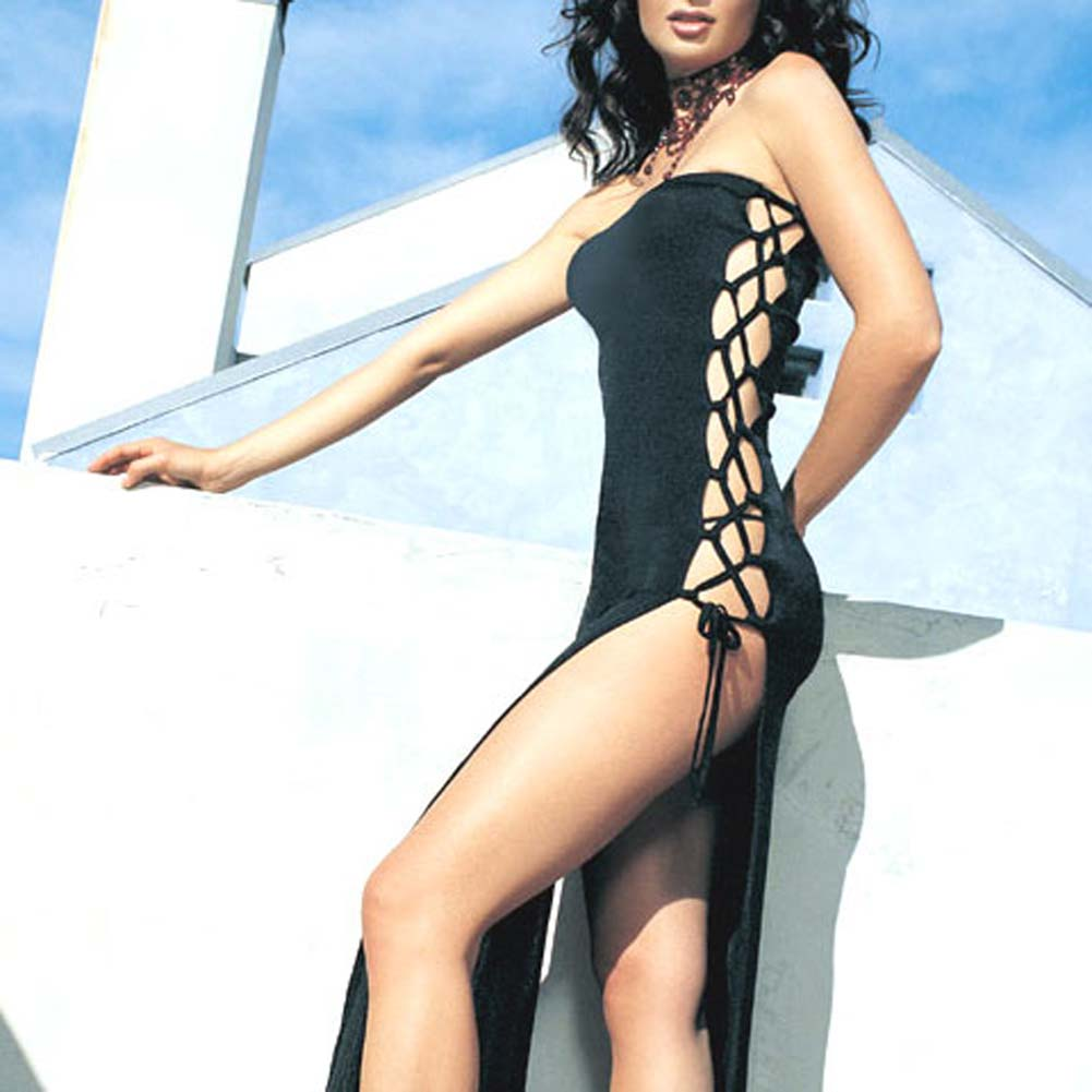 Slinky Long Tube Dress With Lace Up Sides Black - View #2