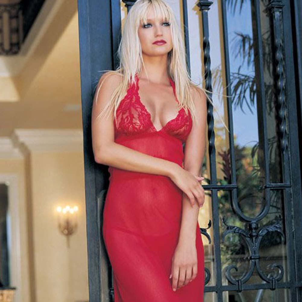 Long Lace and Mesh Halter Dress with Ribbon and G-String Red - View #1