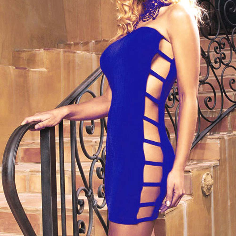 Slinky Tube Dress with Open Side Royal Blue - View #1