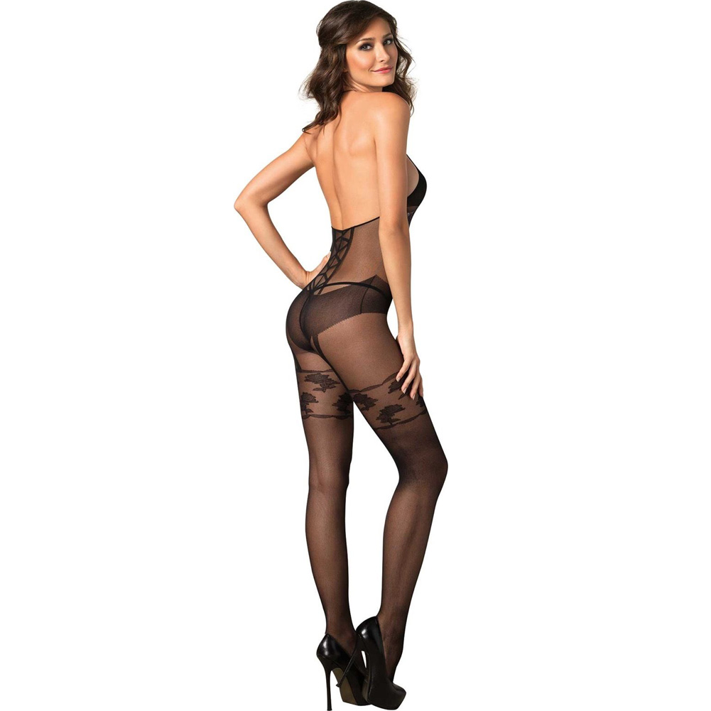 Faux Garter Corset Teddy Bodystocking One Size Black - View #2