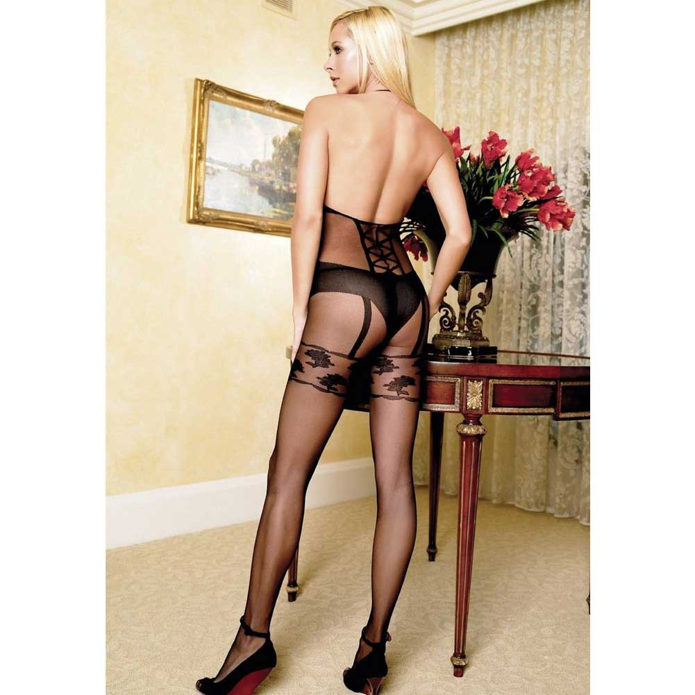 Faux Garter Corset Teddy Bodystocking One Size Black - View #4
