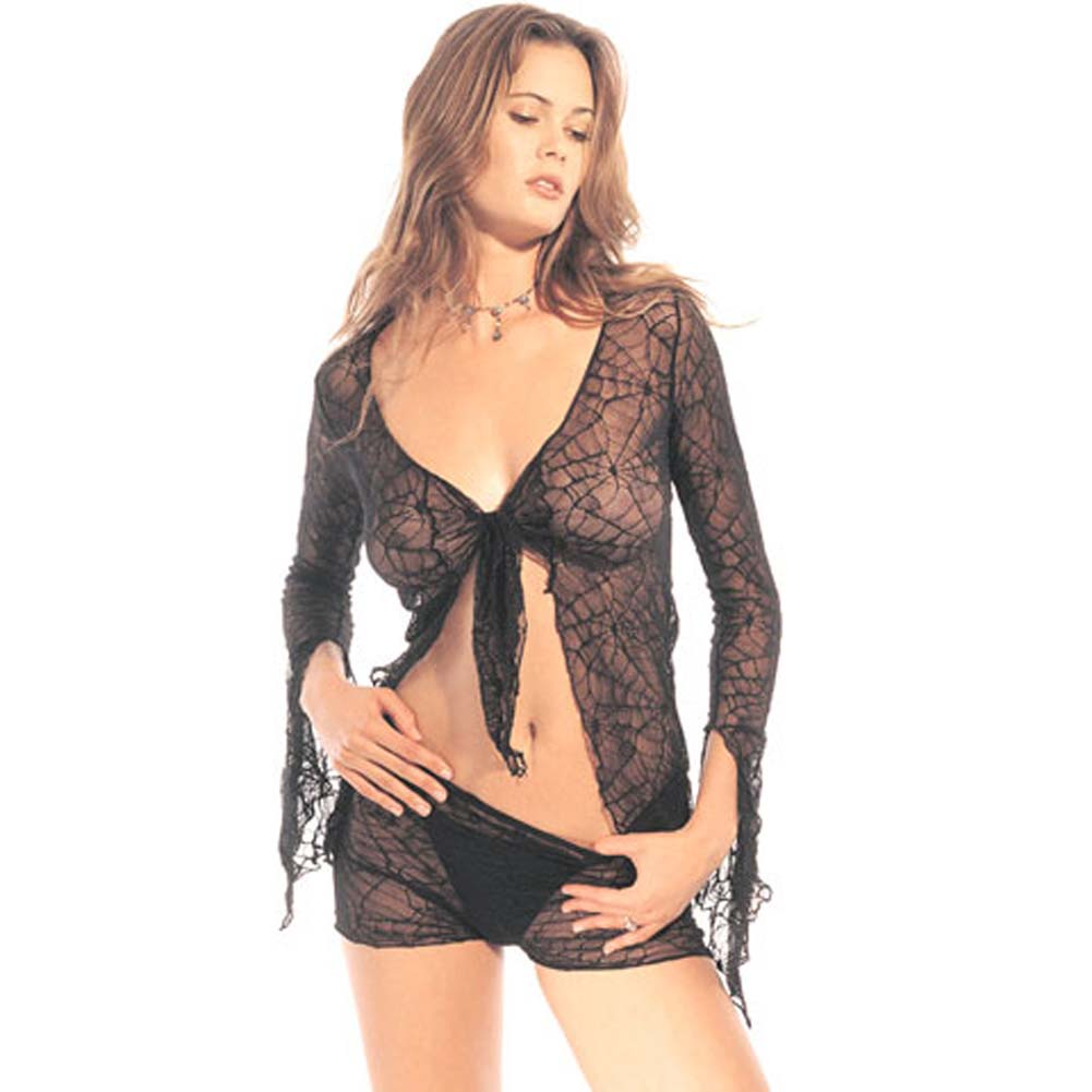 Spider Lace Tie Top with Shorts Set 2 Pc. Black - View #2