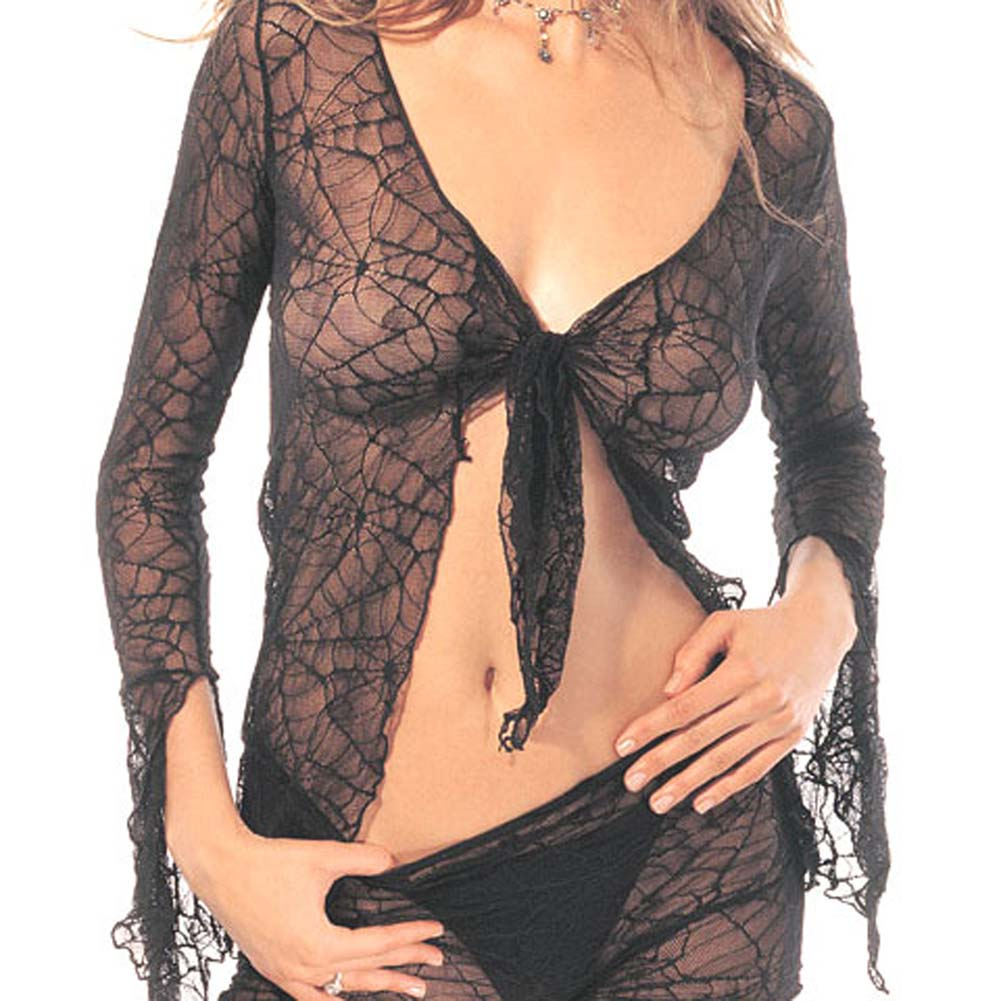 Spider Lace Tie Top with Shorts Set 2 Pc. Black - View #4