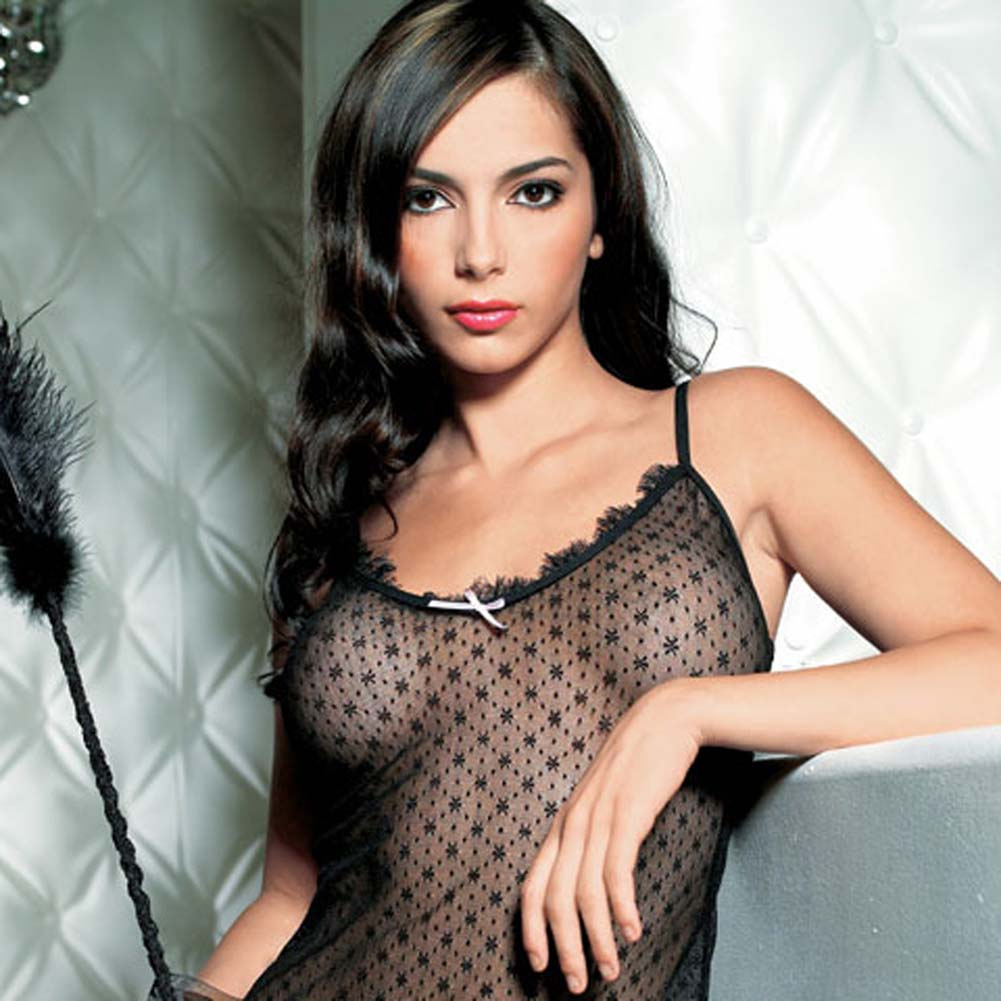 Mini Daisy Lace Chemise with Eyelash Lace Trim Set Black - View #2