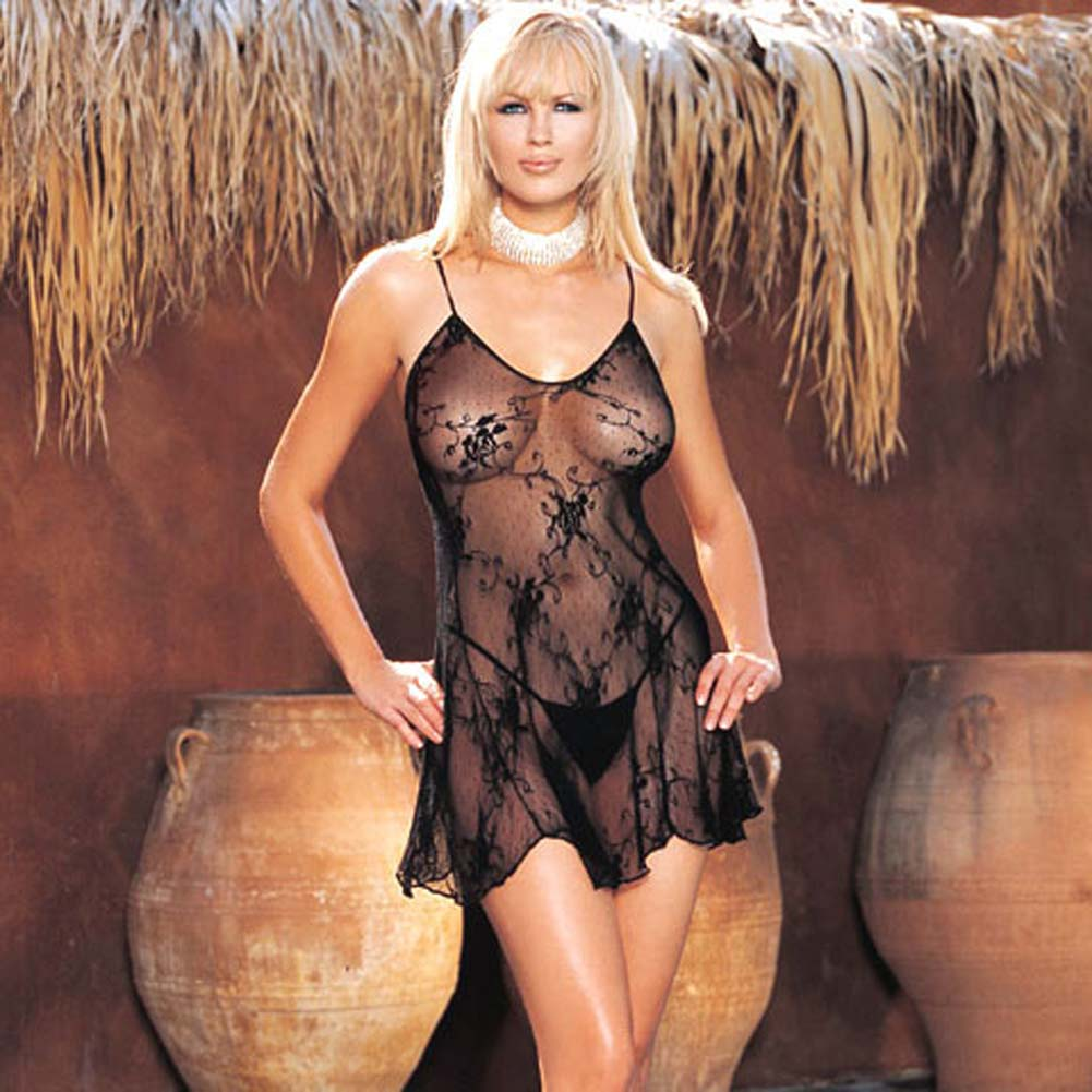 Rose Bud Lace Chemise with G-String 2 Pc. Black Set - View #2