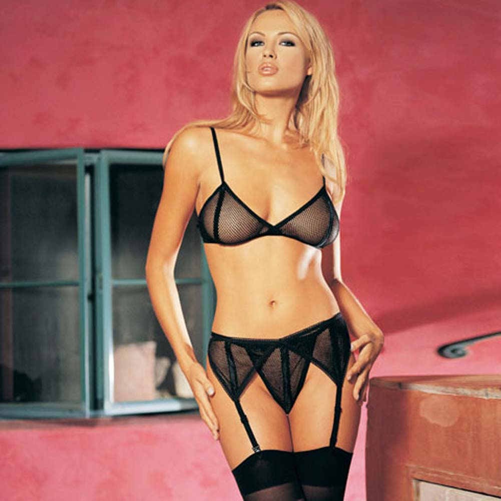 Fishnet Bra Top with Garter Belt and G-String Set 3 Pc. - View #1