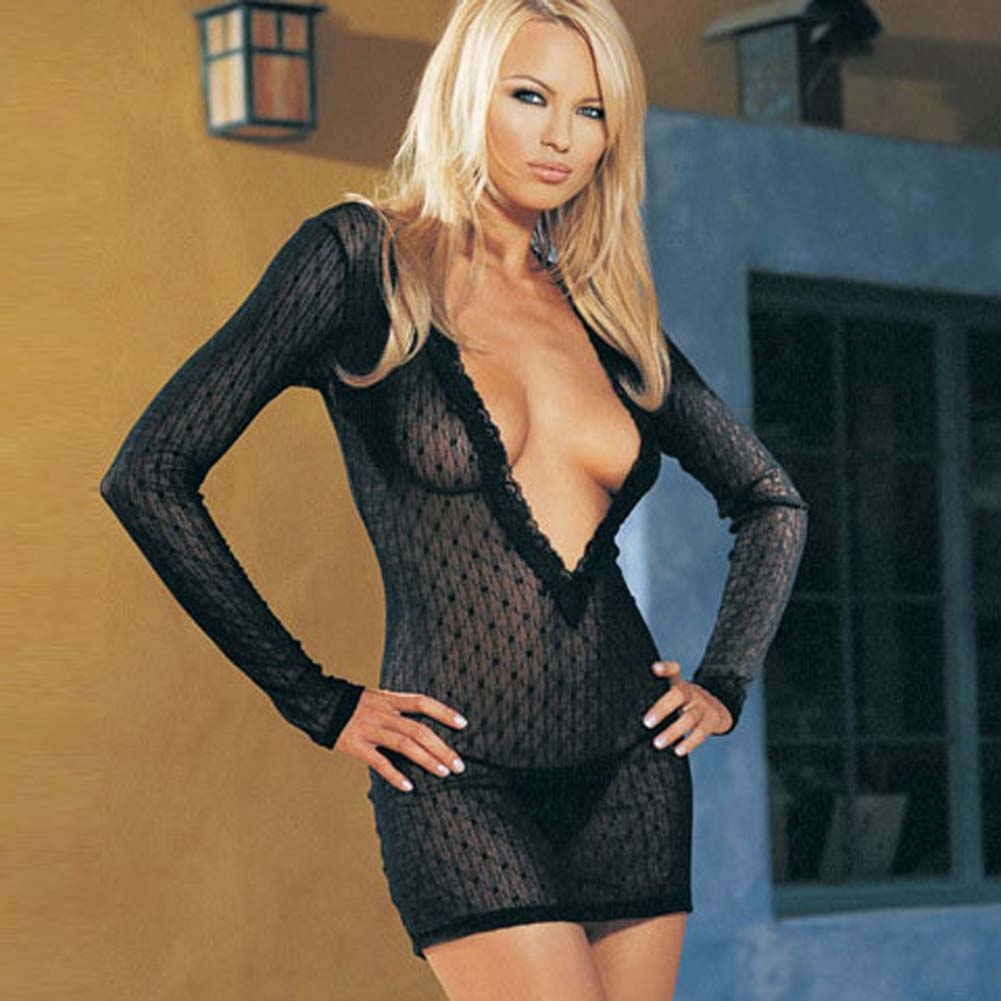 Long Sleeved Mini Daisy Lace Dress with G-String Set - View #2