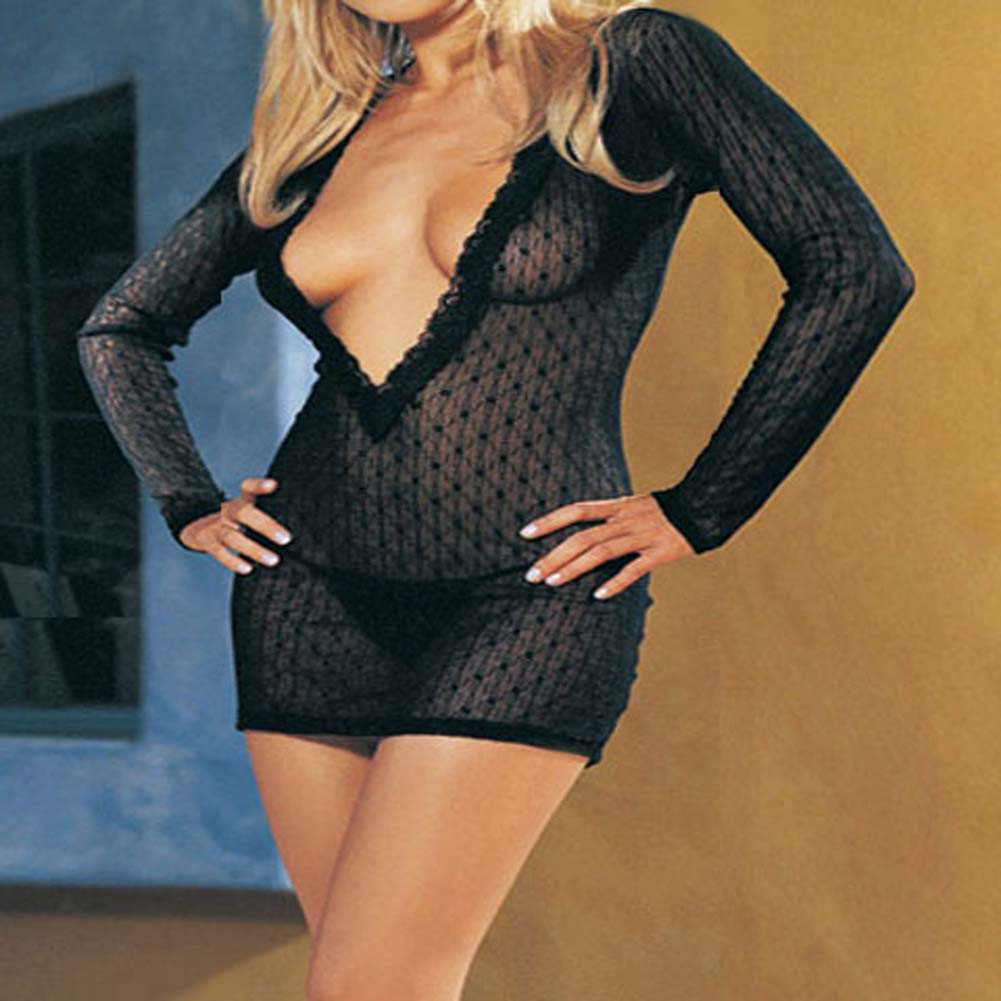 Long Sleeved Mini Daisy Lace Dress with G-String Plus Size - View #1