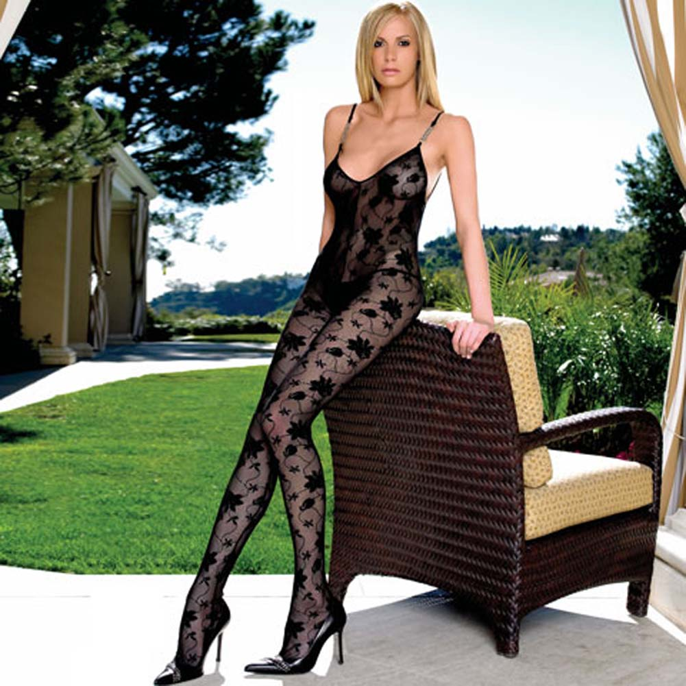 Lace Open Crotch Bodystocking with Chain Link Straps - View #1
