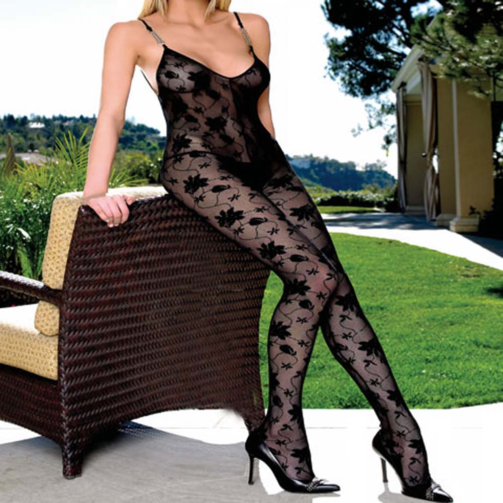 Lace Crotchless Bodystocking with Chain Straps Plus Size - View #1