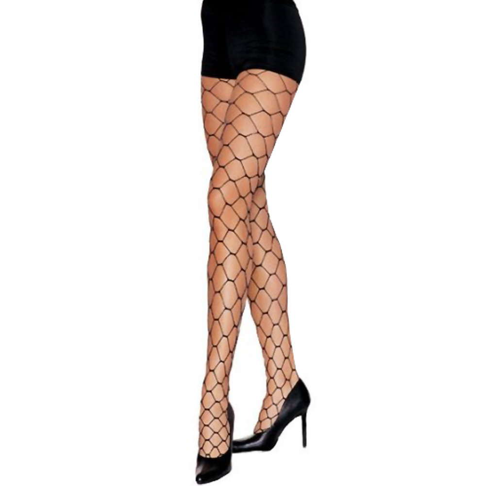 Lycra Lurex Fence Net Pantyhose One Size Black - View #1