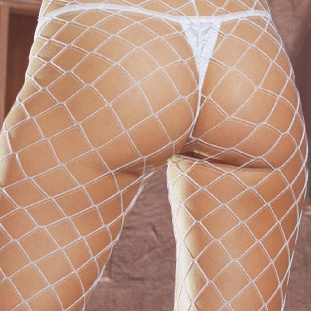 Lycra Dual Large Net Pantyhose One Size White - View #2