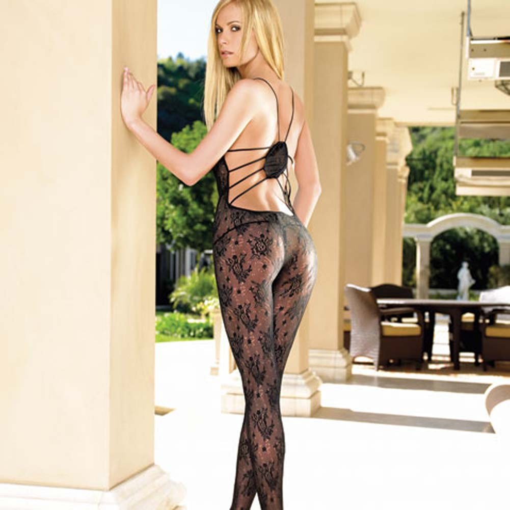 Lace Open Crotch Bodystocking with Strappy Elastic Back - View #1
