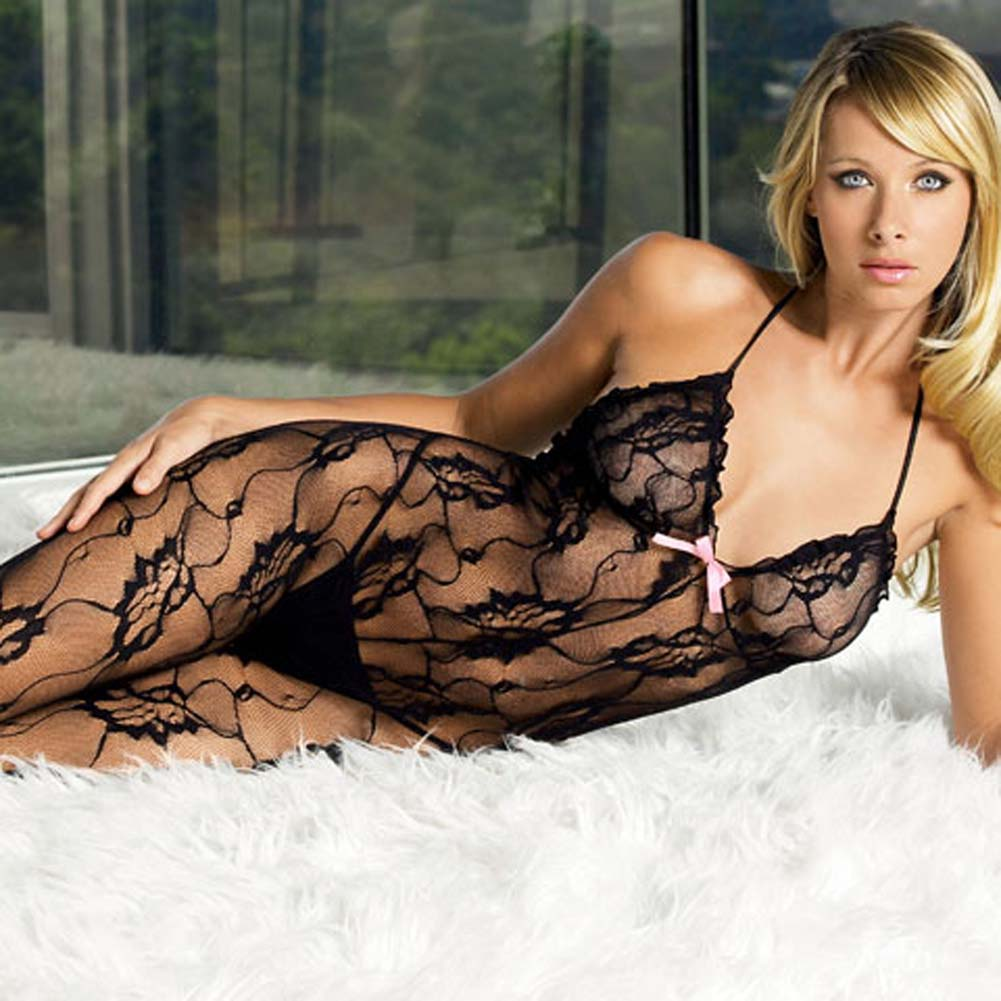 Rose Lace Halter Bodystocking Black with Satin Bow - View #1