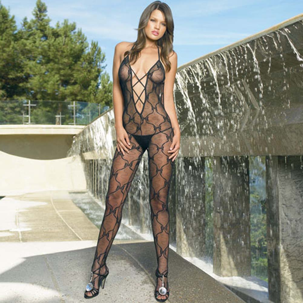 Bow Lace Criss Cross Bodystocking with Low Scoop Back - View #2