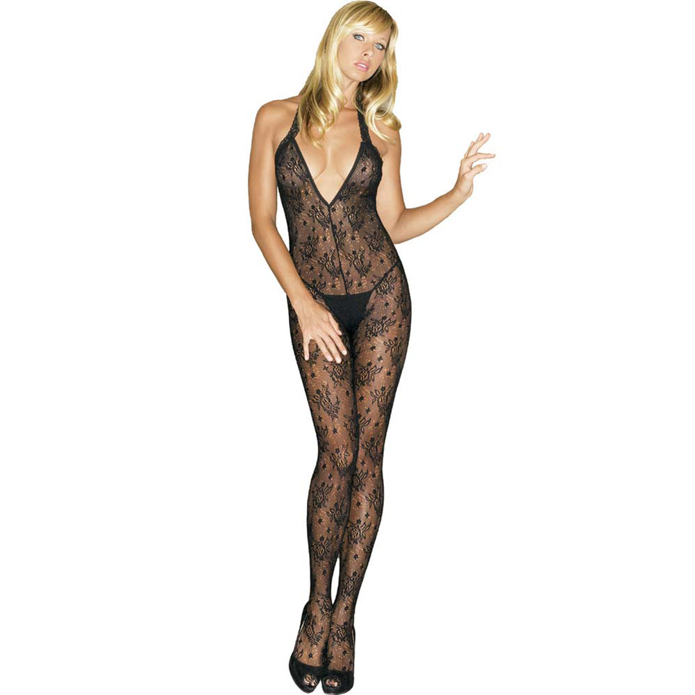 Bouquet Rose Lace Deep V Halter Bodystocking One Size Black - View #1
