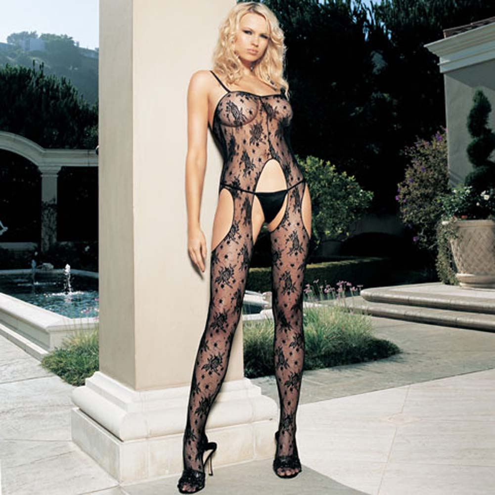 Bouquet Rose Lace Suspender with Side Holes Bodystocking - View #2