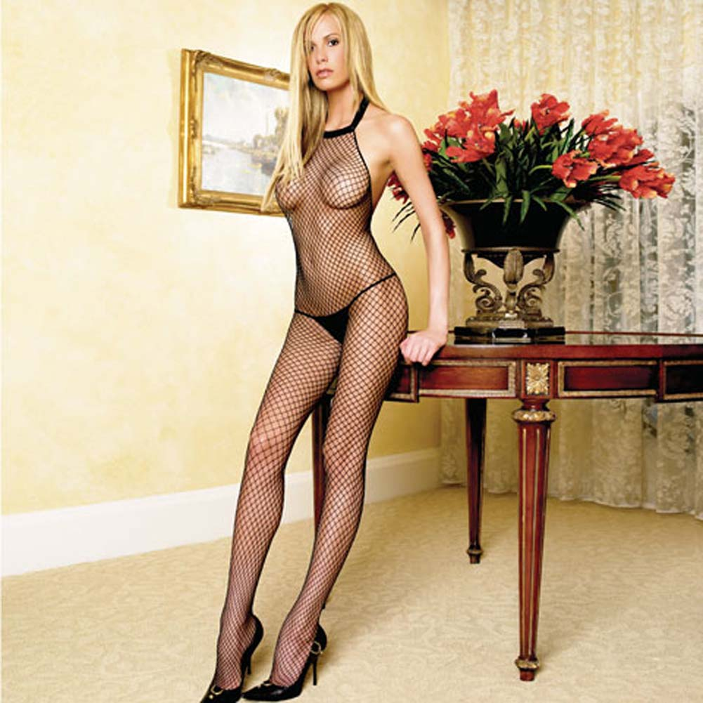 Seamless Halter Industrial Net Crotchless Bodystocking One Size Black - View #1