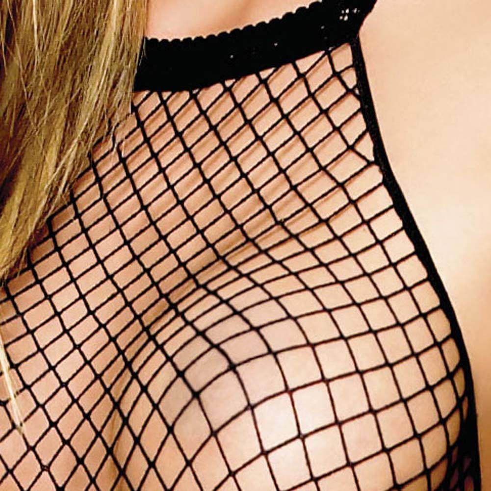 Seamless Halter Industrial Net Crotchless Bodystocking One Size Black - View #3