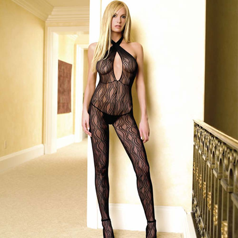 Criss Cross Keyhole Swirl Lace Open Crotch Bodystocking - View #1