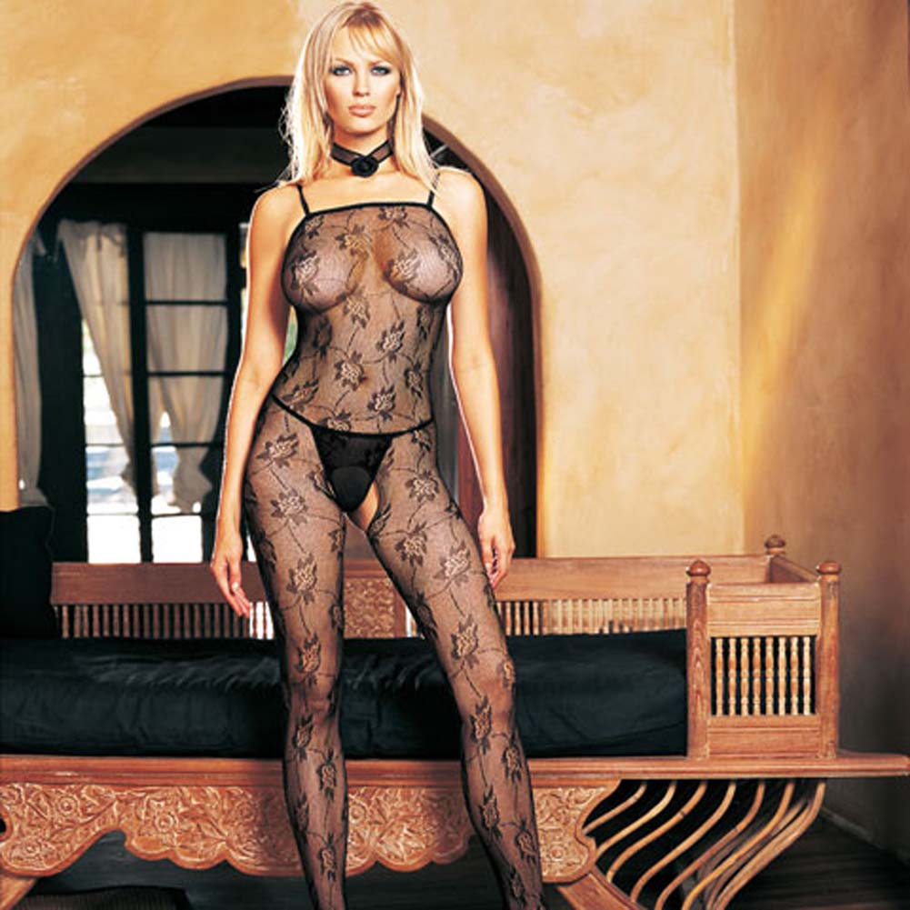Seamless Rose Lace Spaghetti Strapped Bodystocking Black - View #2