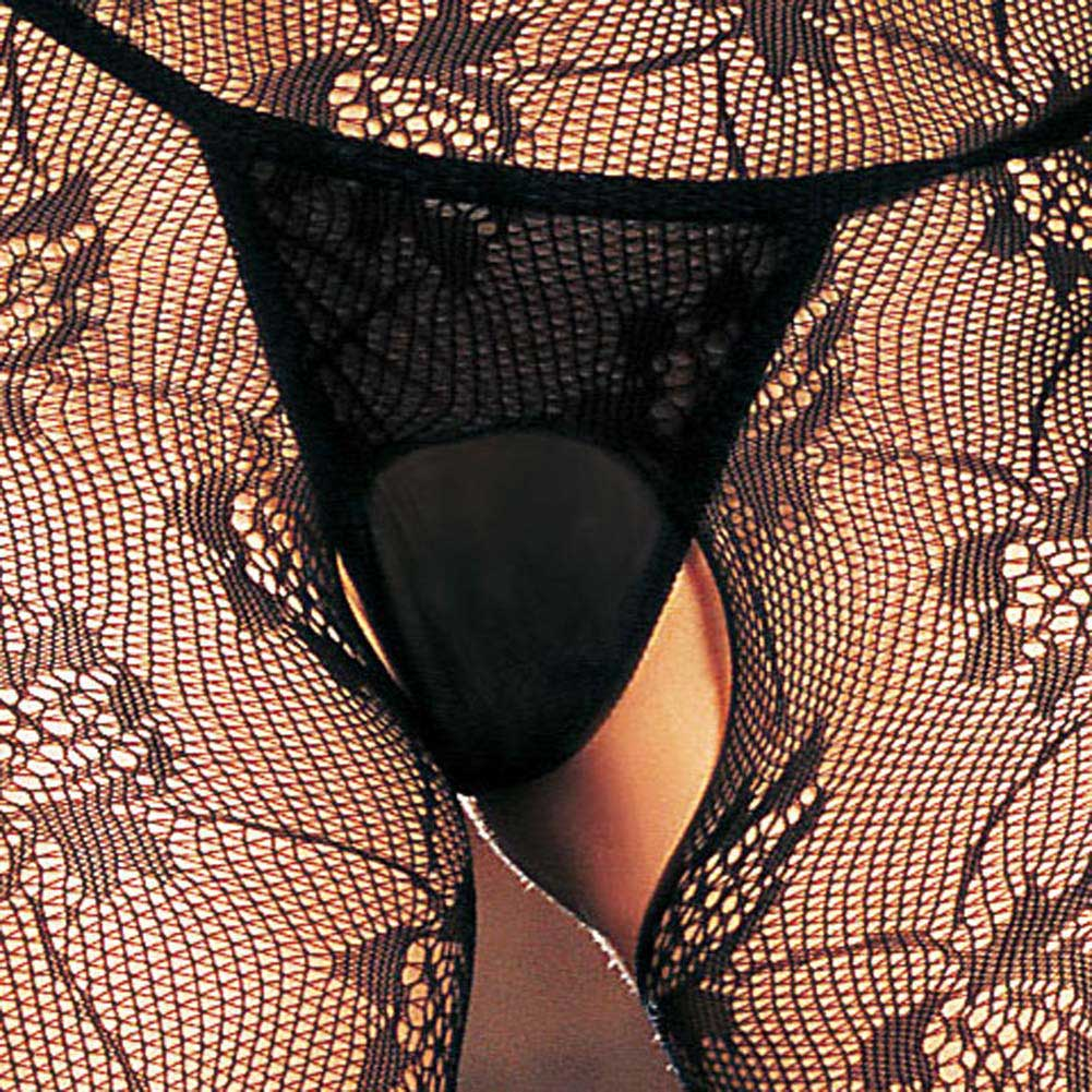 Seamless Rose Lace Spaghetti Strapped Bodystocking Black - View #4