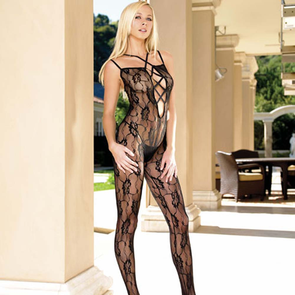 Criss Cross Strapped Lace Up Front Rose Lace Bodystocking - View #2
