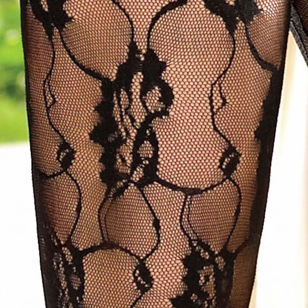 Criss Cross Strapped Lace Up Front Rose Lace Bodystocking - View #4