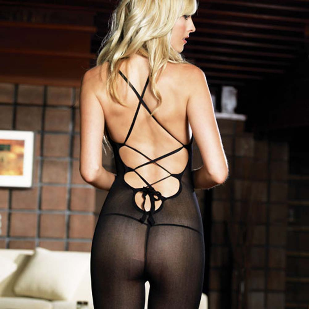 Opaque Bodystocking with Criss Cross Strapped Lace Up Back - View #1
