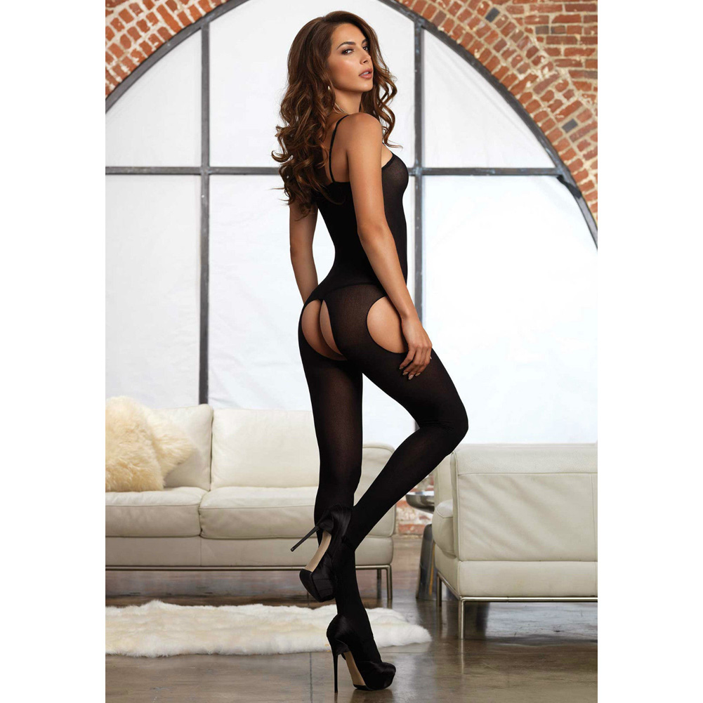 Opaque Suspender Bodystocking One Size Black - View #2