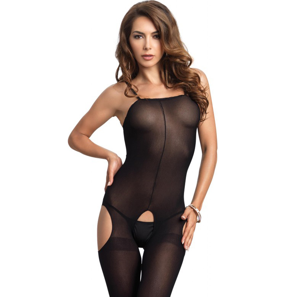 Opaque Suspender Bodystocking One Size Black - View #4