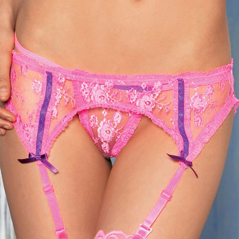 Lace Triangle Bra Top Garter Belt and G-String Set 3 Pc Pink - View #4