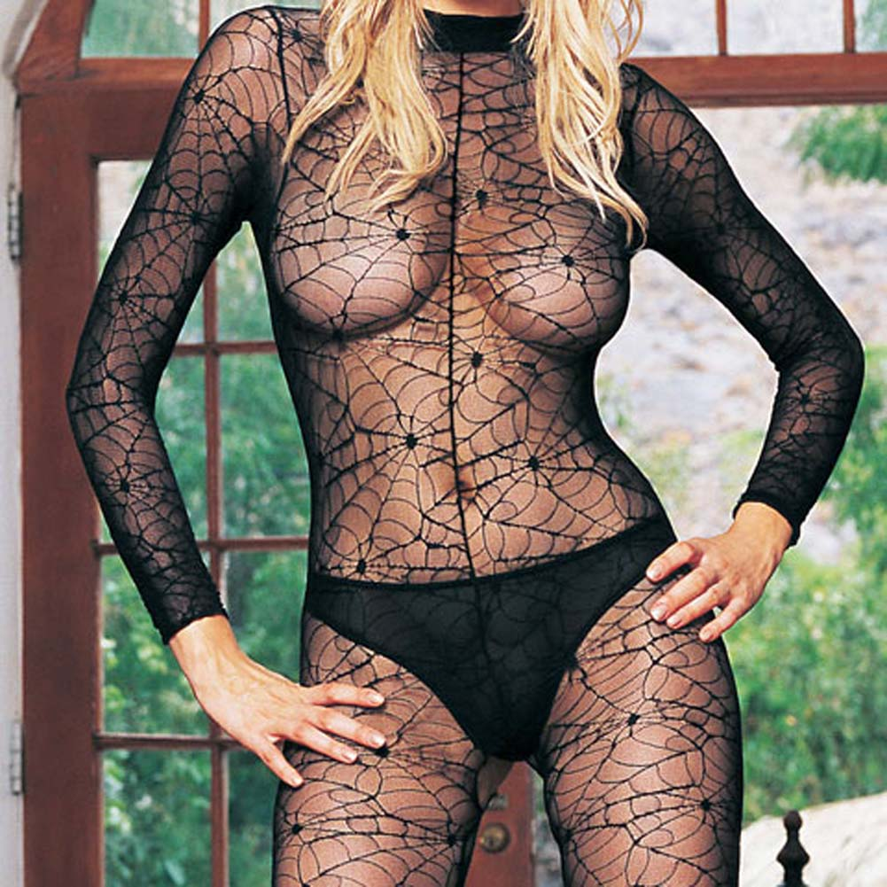 Long Sleeved High Collared Spiderweb Lace Bodystocking - View #1