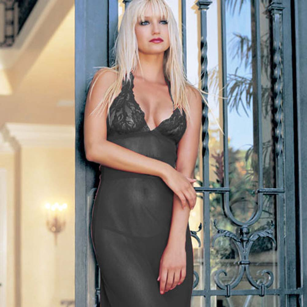 Long Lace and Mesh Halter Dress with G-String One Size Black - View #3