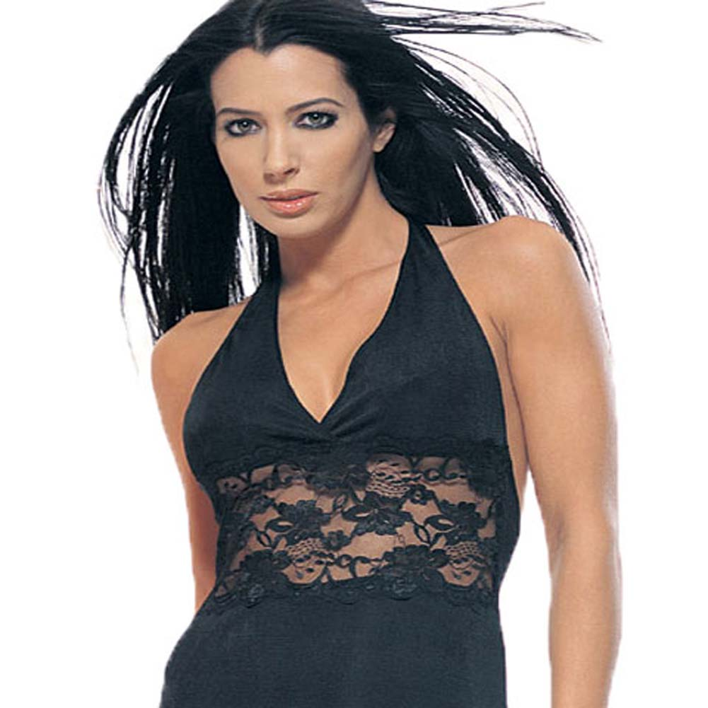 Slinky Halter Mini Dress with Lace Inset Black Size Plus - View #1