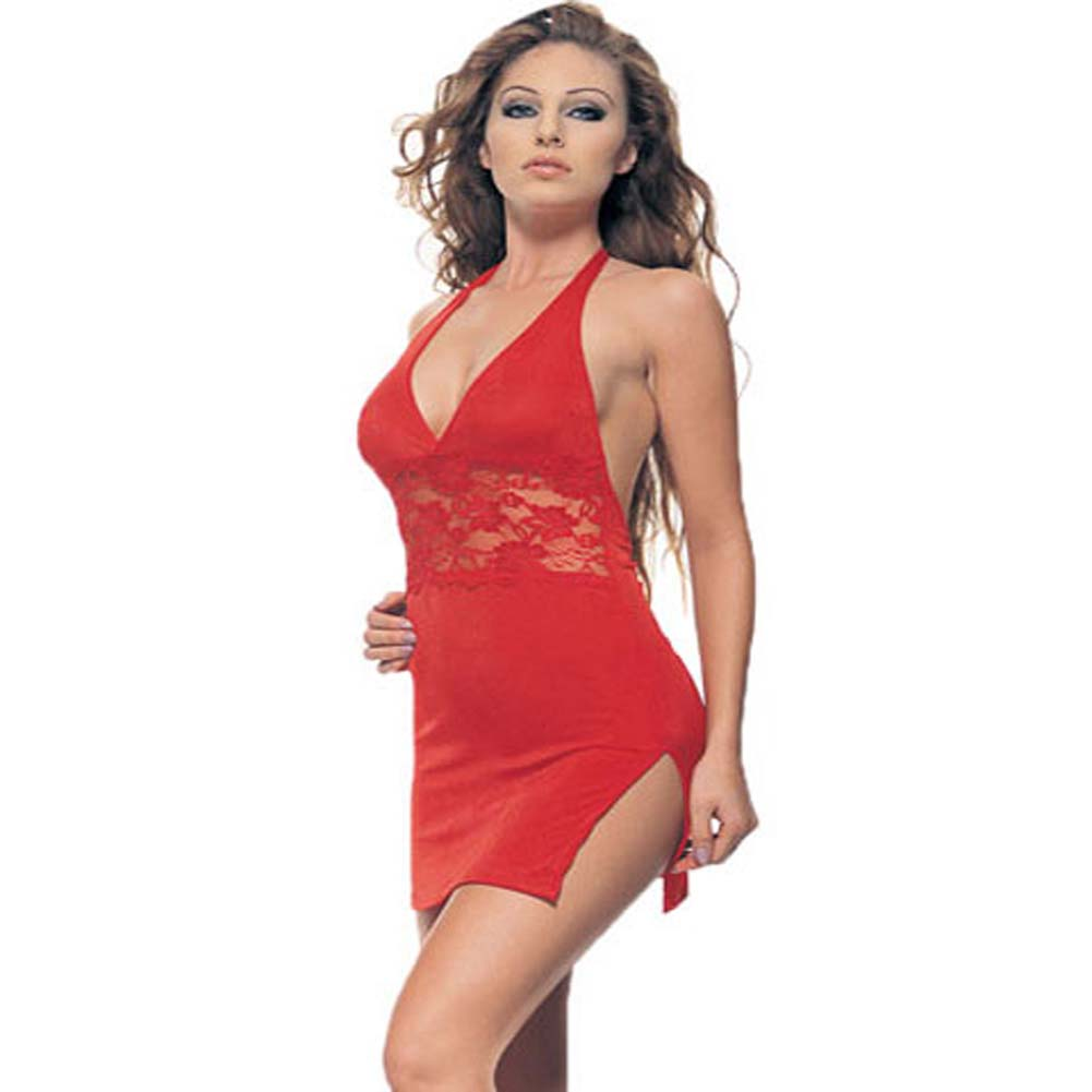 Slinky Halter Mini Dress with Lace Inset Red Plus Size - View #2