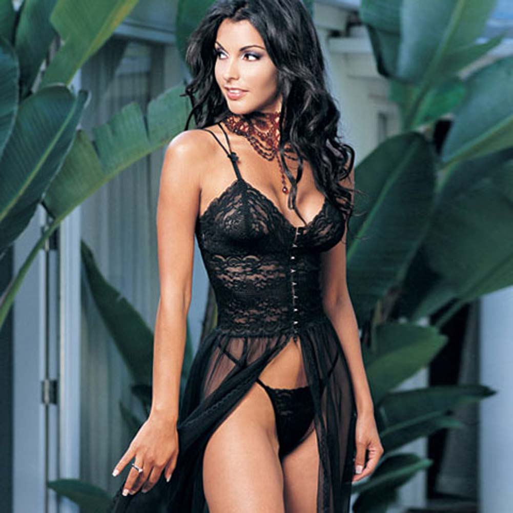 Lace Top Chiffon Gown with G-String Black - View #1