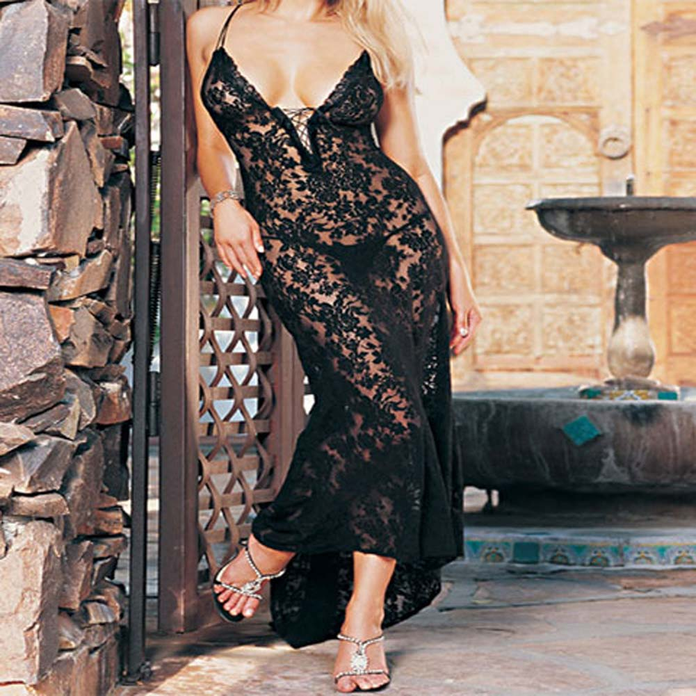 Spanish Lace Dress with Lace Up Front and G-String Plus Size - View #2